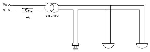 Bir Buton İki Zil Tesisatı Açık Şeması