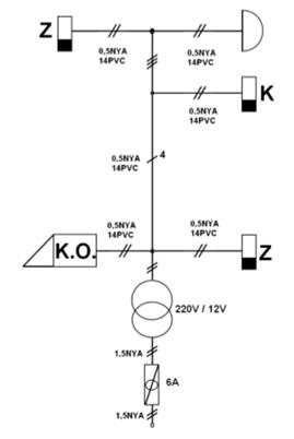 1 Kat 1 Daireli Kapı Otomatiği Tesisatı Kapalı Şeması