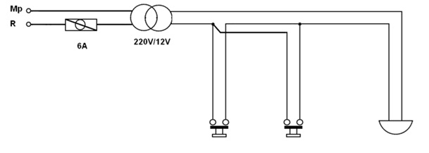 2 Buton Bir Zil Tesisatı Açık Şeması