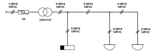 Bir Buton İki Zil Tesisatı KAPALI Şeması