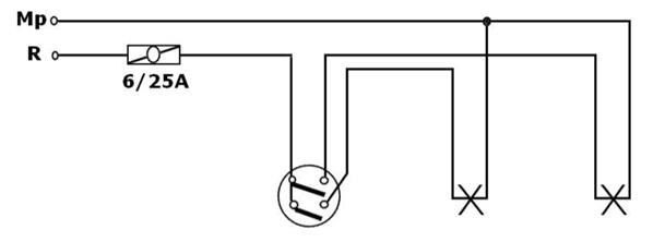 Komütatör Anahtar Tesisatı Uygulama Devresi Açık Şeması