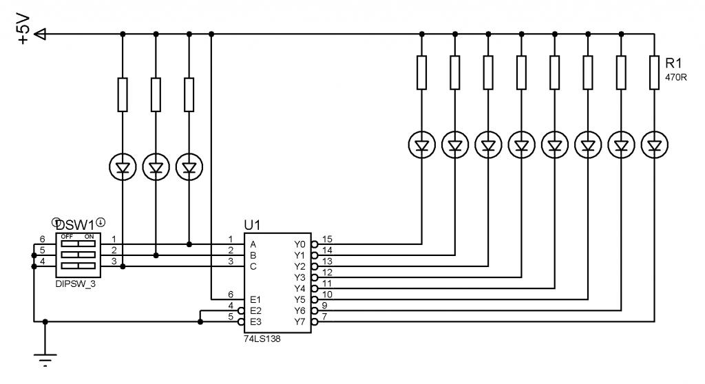3 giriş 8 çıkış kod çözücü 74138