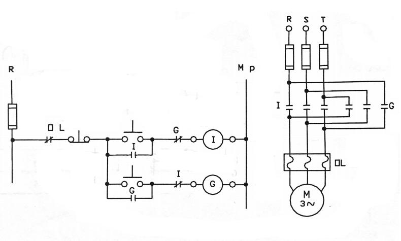 6 asenkron motorun iki yönde elektriksel kilitlemeli devir yönü değiştirme